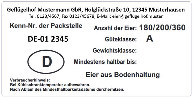 Bedrucktes Eier-Etikett im Format 80x160