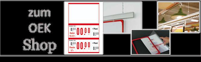 Getränkepreisauszeichnung mit dem OEK-System, Getränkeschilder rot, mit Schutzhülle, Lochleiste
