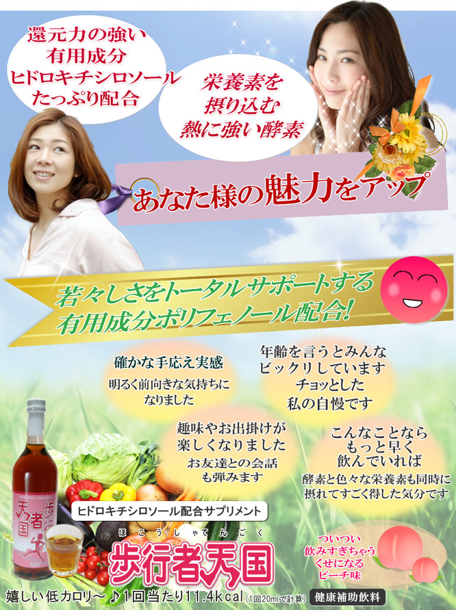 酵素飲料歩行者天国 ヒドロキチシロソール配合サプリ健康補助飲料
