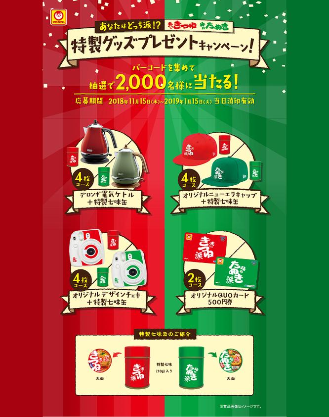 【東洋水産】マルちゃん あなたはどっち派!?赤いきつねと緑のたぬき特製グッズプレゼントキャンペーン