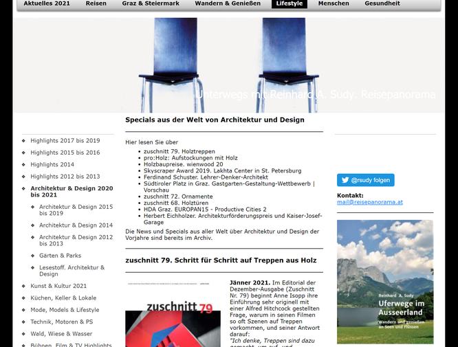 Screenshot/Ausschnitt der Seite Architektur & Design 2020 bis 2021 auf www.reisepanorama.at