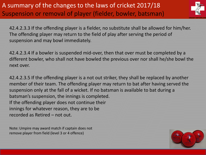 A summary of the changes to the laws of cricket 2017/18 prepared for Cricket Switzerland (slide 3)