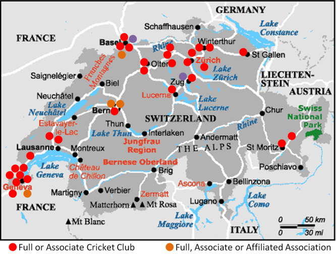 Cricket Swizterland Club Map