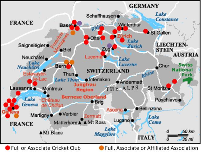 Cricket Swizterland Club Map