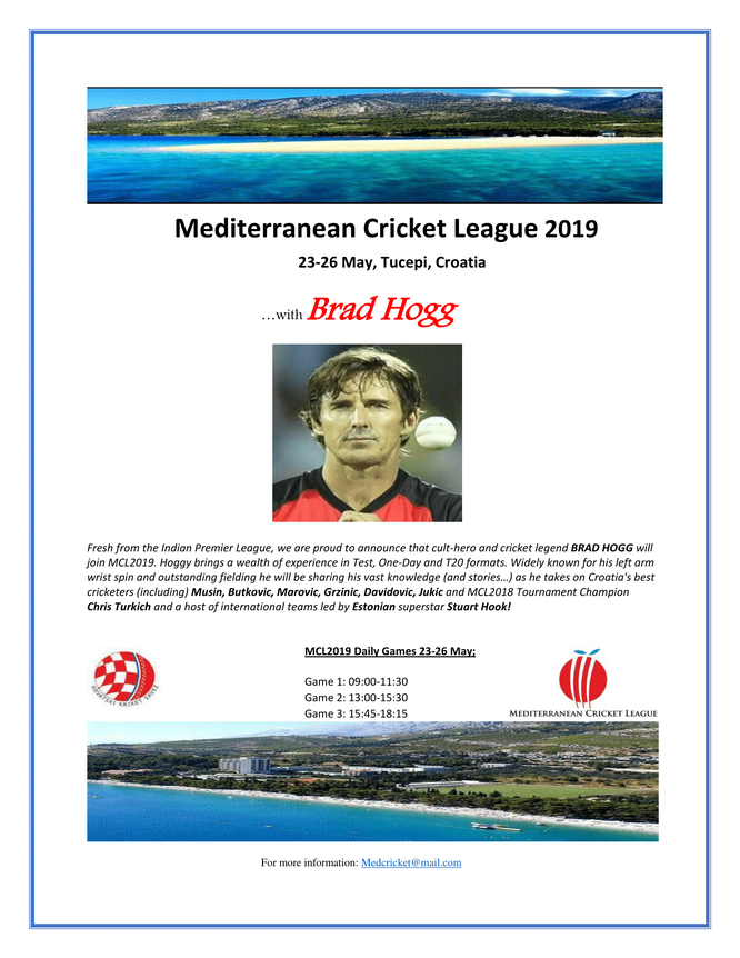 Mediterranean Cricket League (Tucepi, Croatia - 23-26 May 2019)