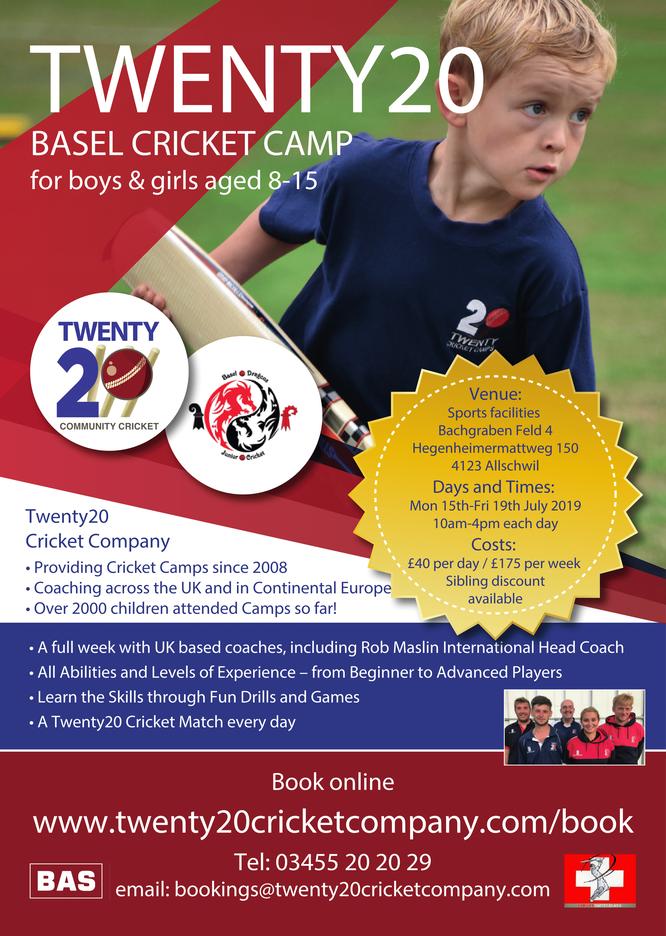 Twenty20 Basel Junior Summer Cricket Camp (15-19 July 2019)