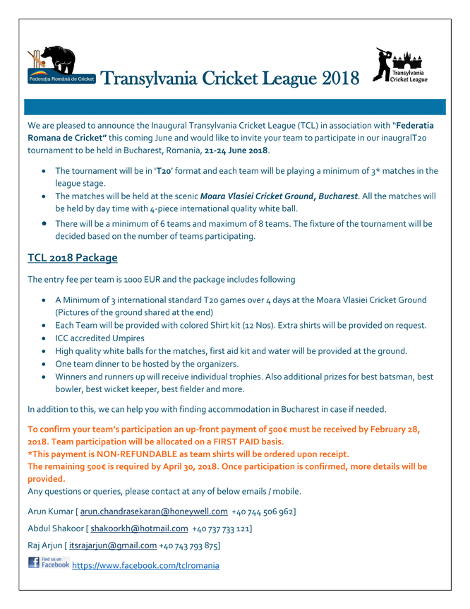 Transylvania Cricket League Package Details