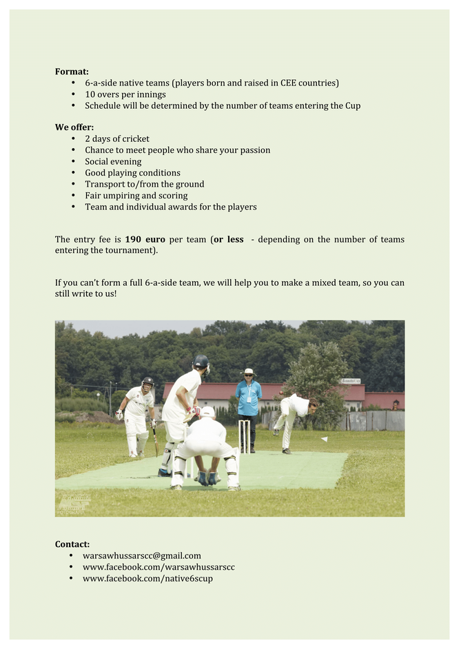 3rd CEE Native 6s Cricket Cup - Cricket Switzerland