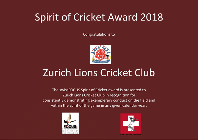 Spirit of Cricket Award 2018