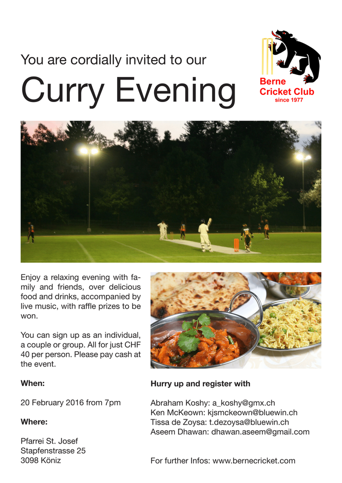 Berne Curry Evening invitation (20 February 2016)