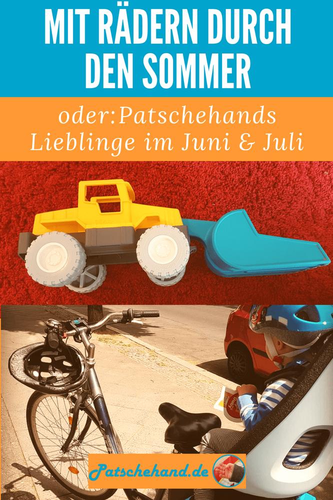 """Grafik zum Teilen in Social Media und Pinterest: Patschehands Lieblinge Fahrrad-Kindersitz und Schaufelbagger von """"Playmobil""""."""