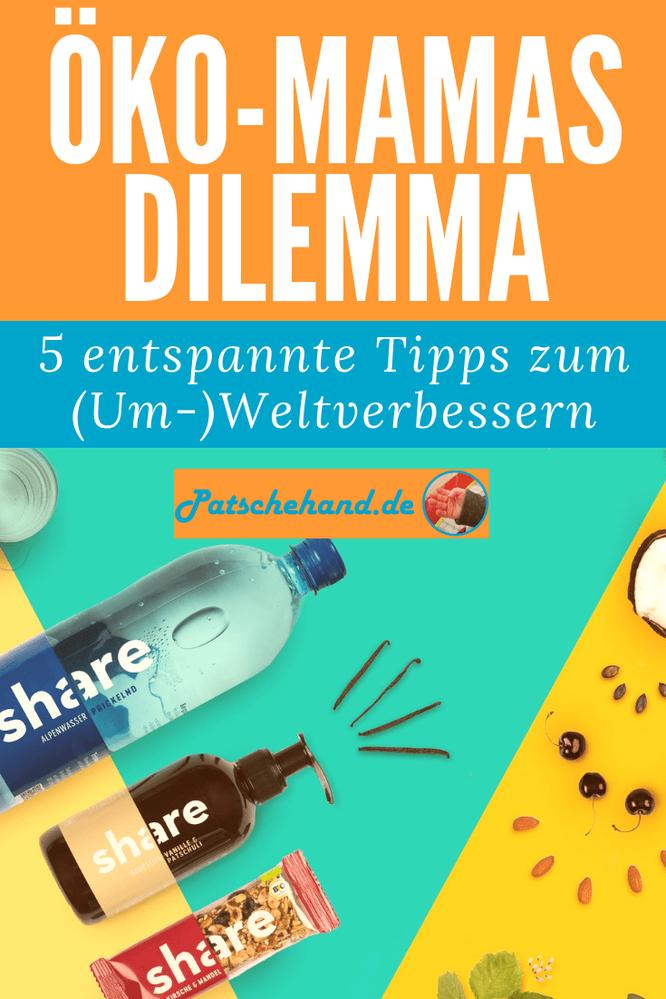 Grafik für Pinterest oder zum Teilen rund um die besten Tipps für mehr Nachhaltigkeit und Fairness im Familienalltag auf Mama-Blog Patschehand.de.
