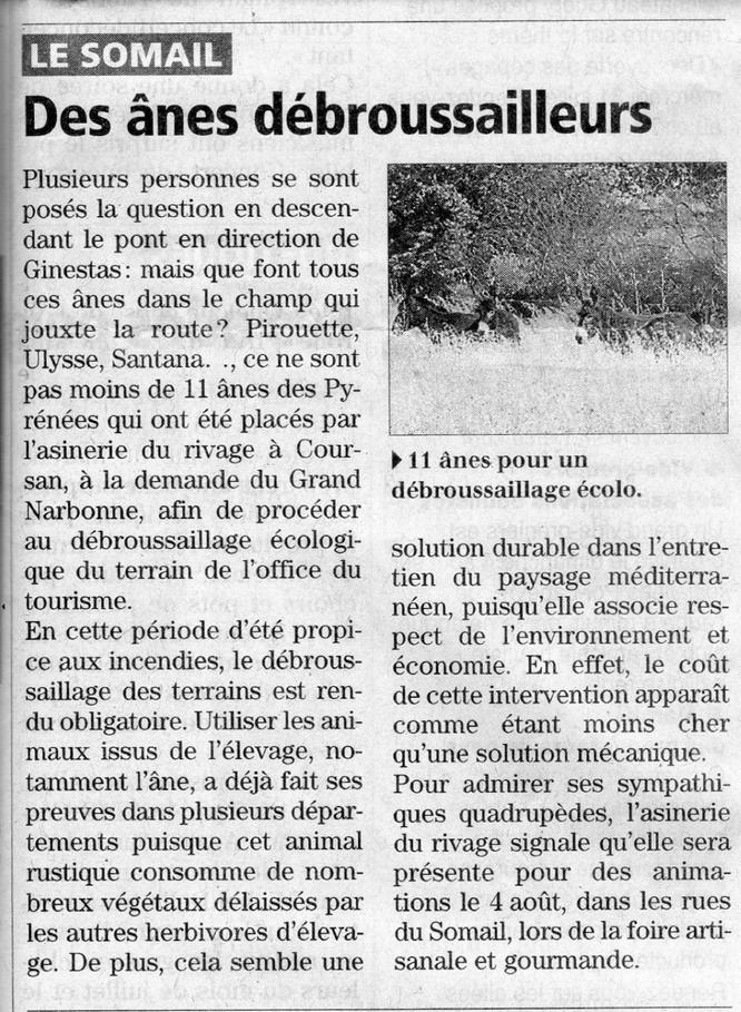 Article de l'Indépendant du 28 juillet 2013