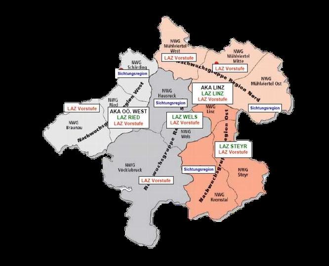 Aufteilung der AKA, LAZ, LAZ Vorkader und der ehemaligen Nachwuchsgruppen in Oberösterreich