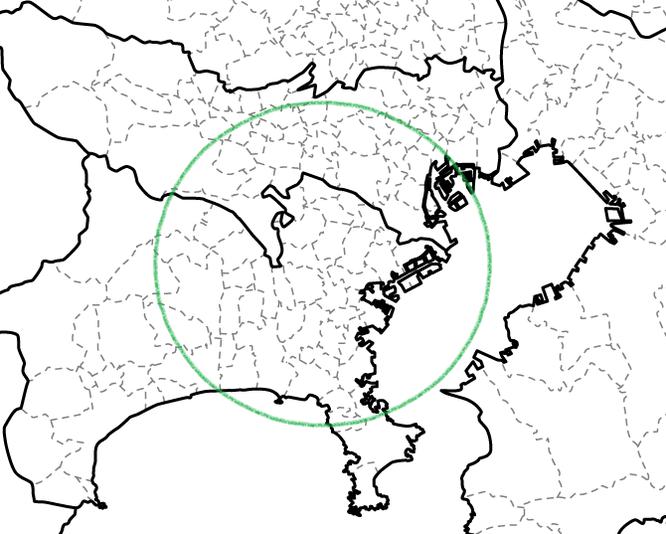 住居範囲 地図 白地図 社員居住地