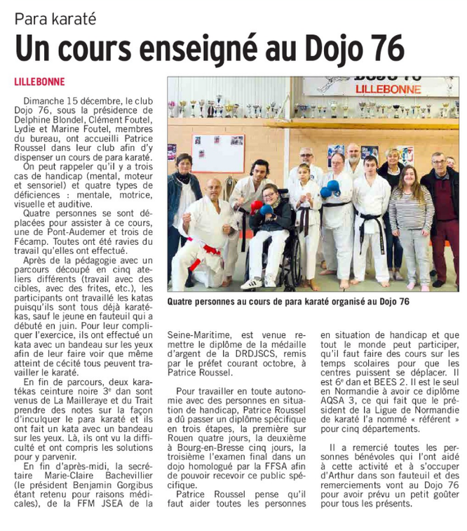 PARIS-NORMANDIE du 27 décembre 2019.