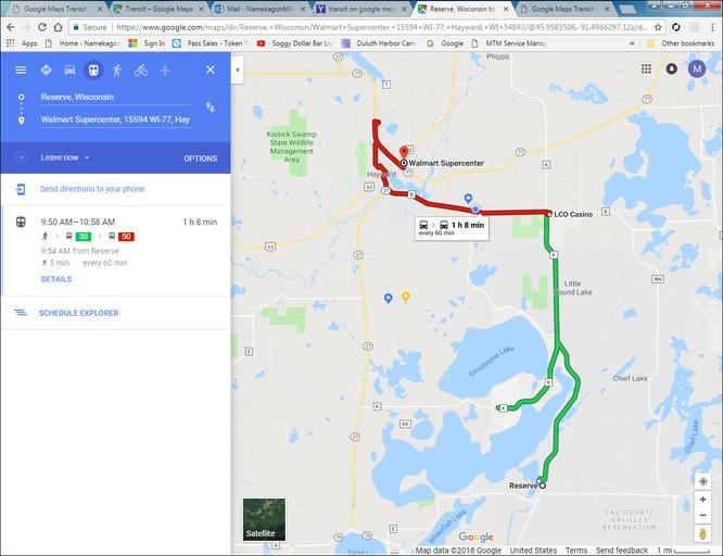 Google Maps Transit - Namekagon Transit