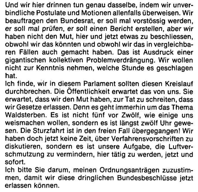 Nationalrat Moritz Leuenberger (SP) am 6. Februar 1985 in der Sondersession zum Waldsterben