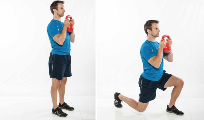 Lunges mit Kettlebell