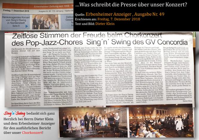 Presse: Quelle Erbenheimer Anzeiger Freitag 7.12.2018 Text und Bild: Dieter Klein