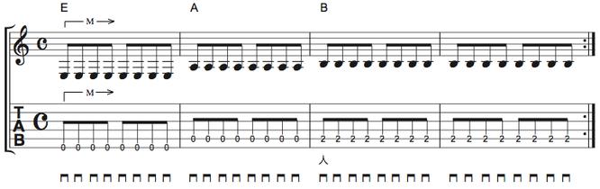 画像 譜面Ex.2 ブリッジミュートの練習(単音)