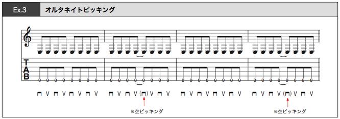 譜面 Ex.3 オルタネイトピッキングの練習