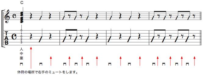 画像 譜面Ex.1 右手でミュートする練習