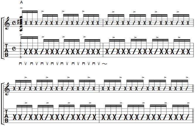 譜面Ex.3 16分音符でのカッティング