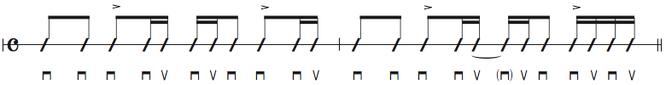 画像 譜面Ex.6 16ビートストロークのパターン