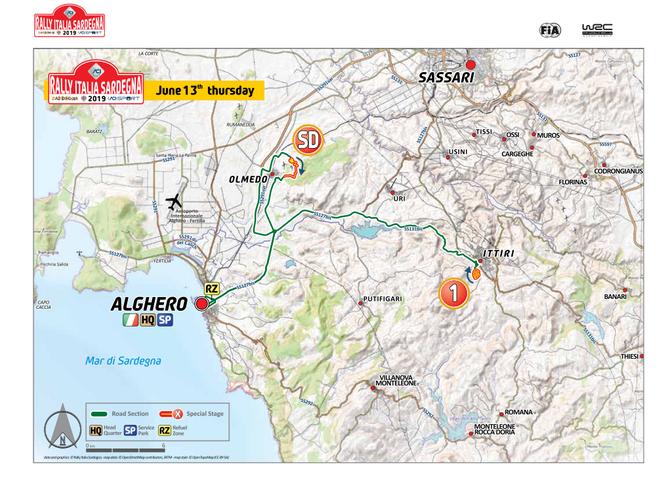 Percorso rally Alghero pianta 2019 Sardegna giorno 13