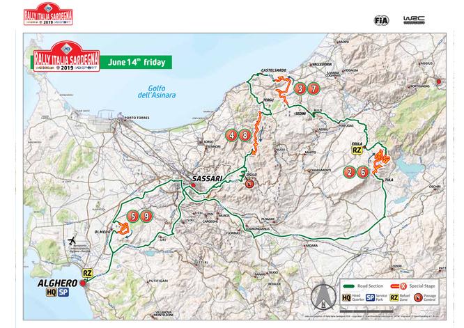 Percorso rally Alghero pianta 2019 Sardegna giorno 14