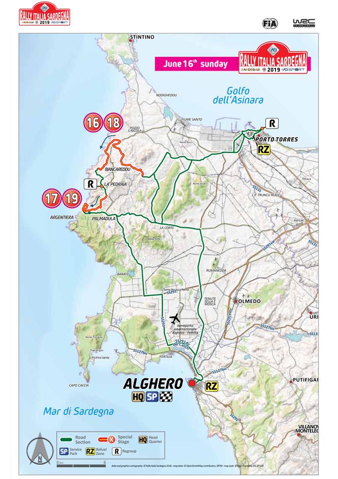 Percorso rally Alghero pianta 2019 Sardegna giorno 16