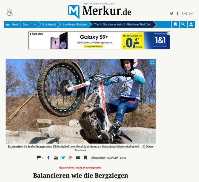 Artikel über den 1. Münchner Trial-Club auf Merkur.de