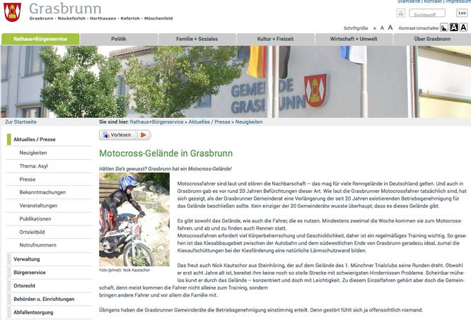 Artikel über den 1. Münchner Trial-Club auf Grasbrunn.de
