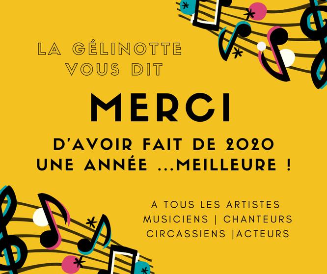 Voir la publication destinée aux artistes qui se sont produits en 2020 à la Gélinotte (un clic sur l'image)