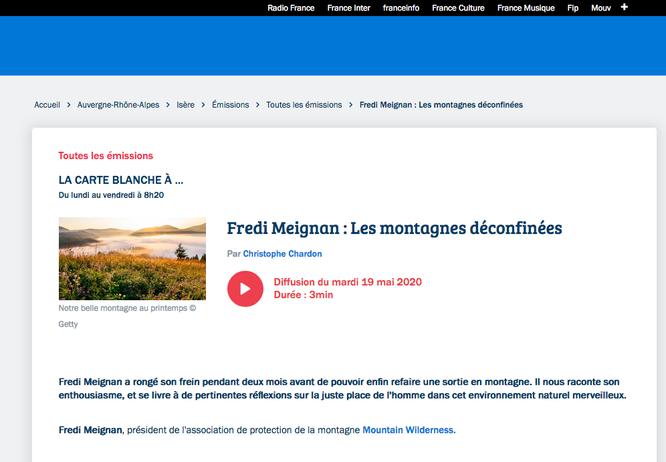 Sur la page de rediffusion de France Bleu la carte blanche d'hier, sur nos montagnes après le déconfinement (clic sur la photo)