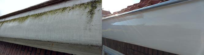Voor- en na het vervangen van de houten boeidelen en zinken dakgoten en het schilderwerk in Leiden