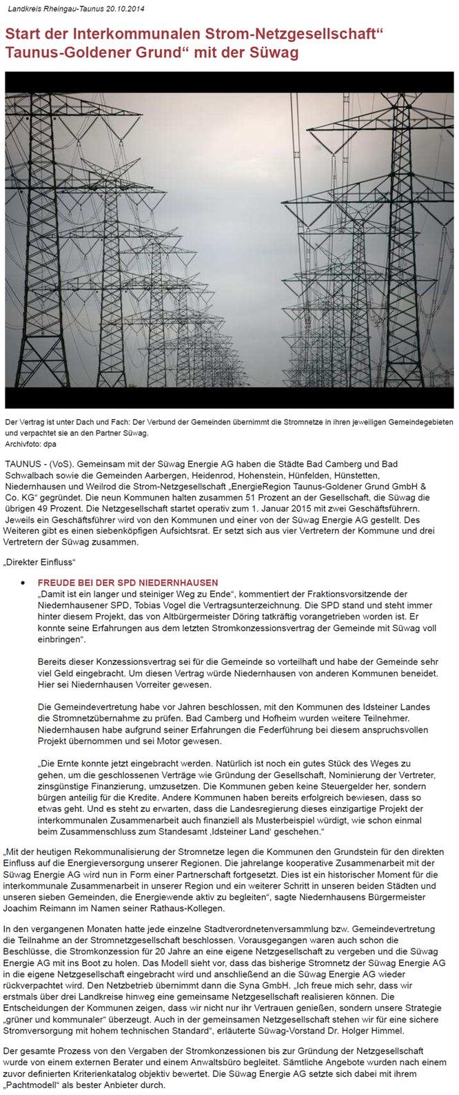 Start der Interkommunalen Strom-Netzgesellschaft Taunus-Goldener-Grund