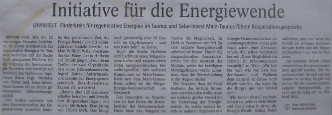 Fören und Solar Invest Main Taunus führen Kooperationsgespräche