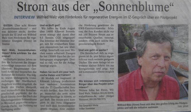 """Interview zur Bürger Solaranlage """"Sonnenblume"""" in Idstein"""