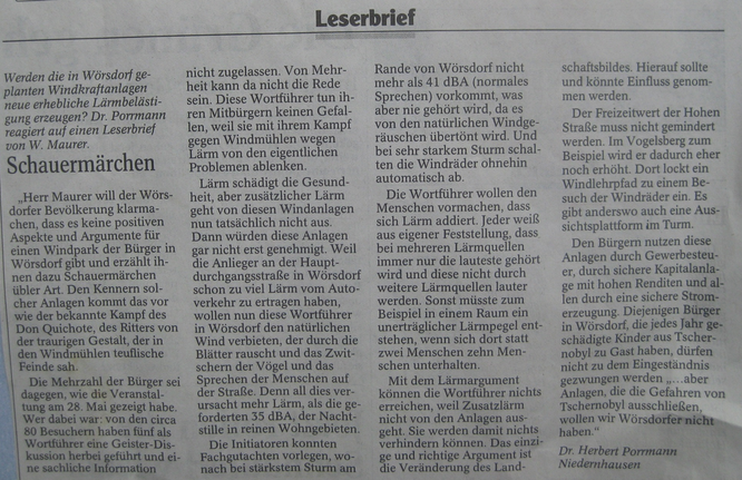 Leserbrief zu Windkraft in Idstein Wörsdorf