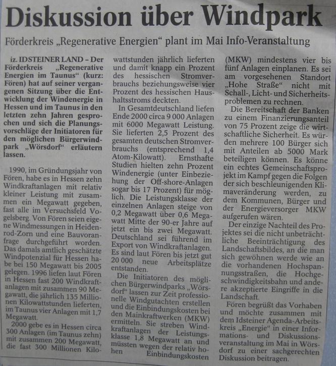 Fören: Infoveranstaltung zu Windkraft geplant
