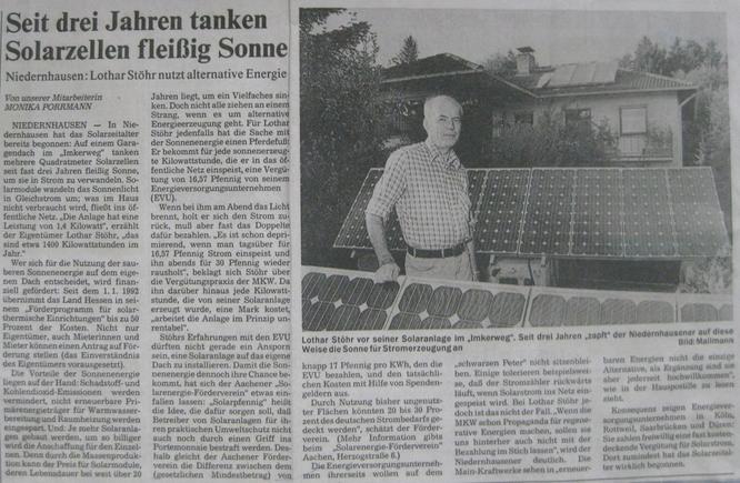 Bericht zu einer Solaranlage im Imkerweg in Niedernhausen