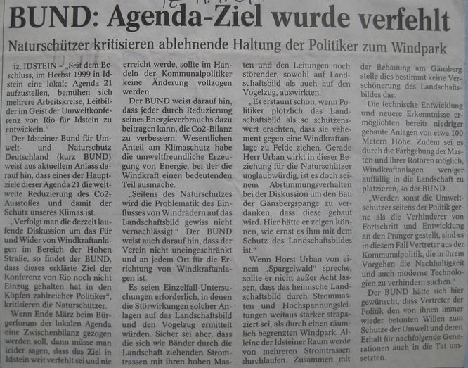 BUND kritisiert ablehnende Haltung der Politik zur Windkraft in Idstein