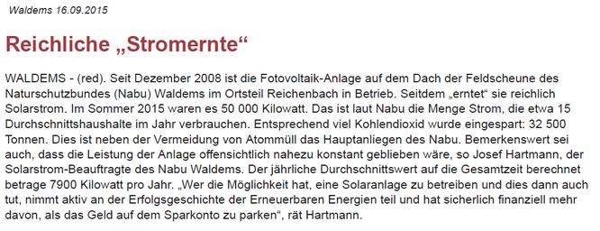 PV Anlage des NABU in Waldems-Reichenbach liefert reiche Stromernte