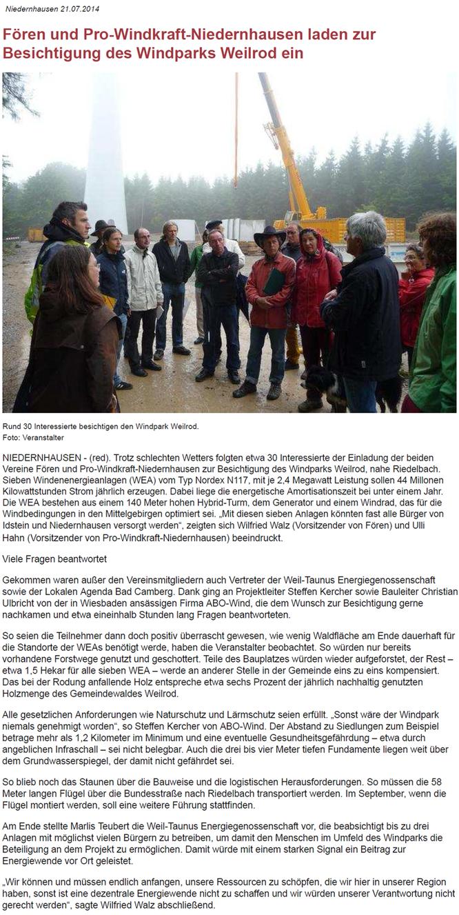 Fören und Pro Windkraft Niedernhausen laden zur Besichtigung des Windpark Weilrod ein