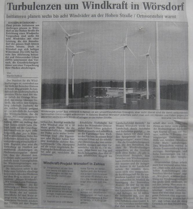Turbulenzen um Windkraft in Idstein Wörsdorf