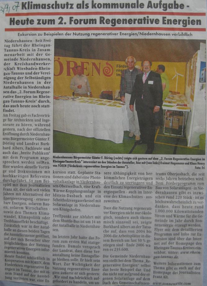 Fören auf dem Forum Erneuerbare Energien in Niedernhausen