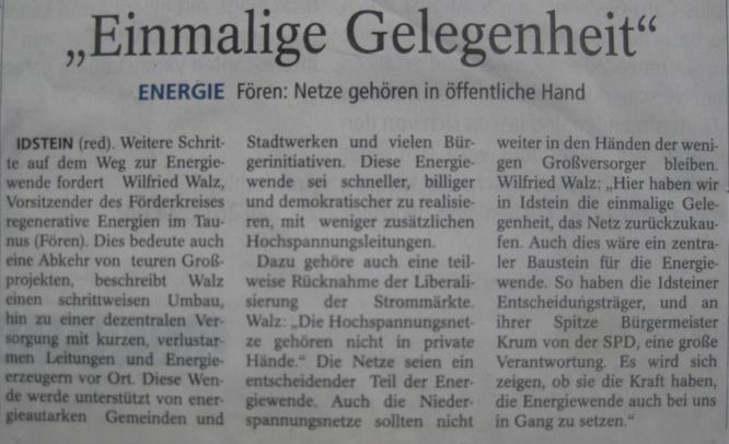 Fören: Interview zur Chance des Stromnetzkauf Idstein