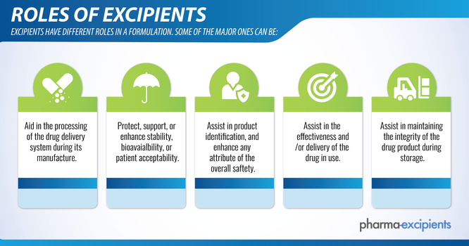 Graphic with the five main roles of excipients